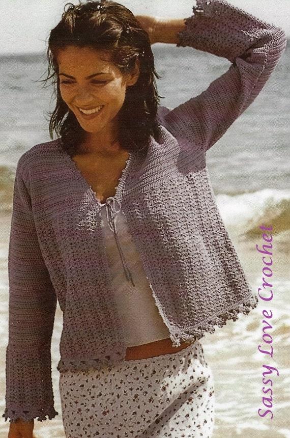 Crochet Uk Cardigan Beach Sweater Pattern Ladies Womens Etsy