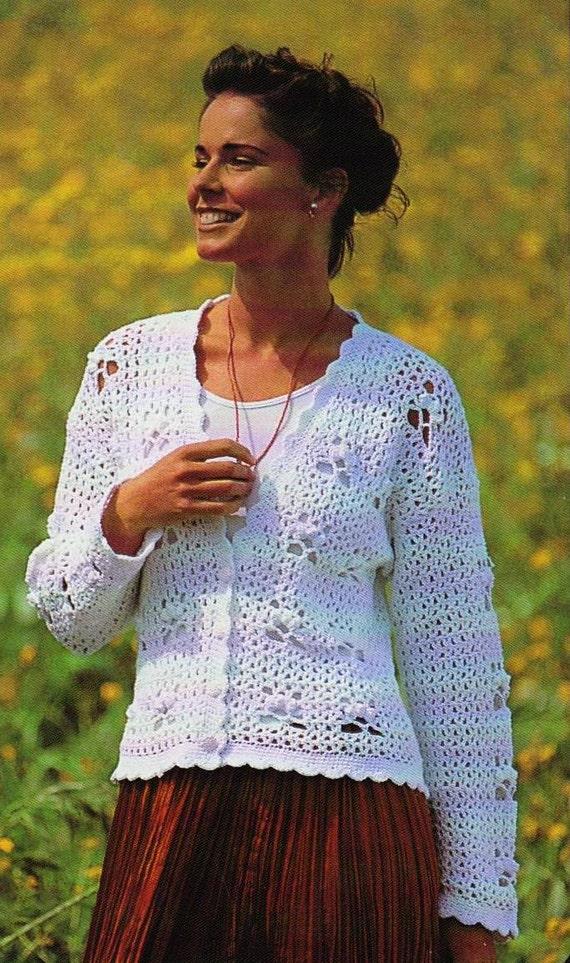 Crochet Uk Womens Cardigan Sweater Pattern Long Or Short Etsy