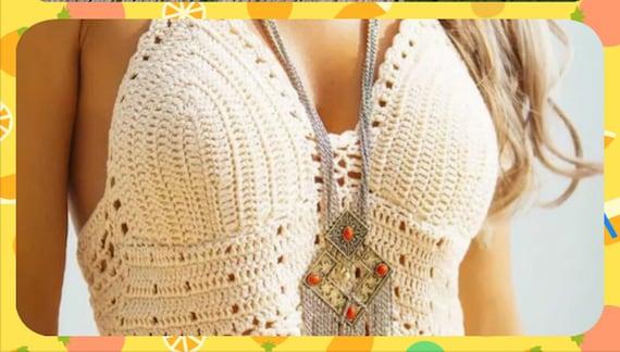 Crochet Crop Top Pattern Designer Boho Halter Fringed Crop Top Etsy