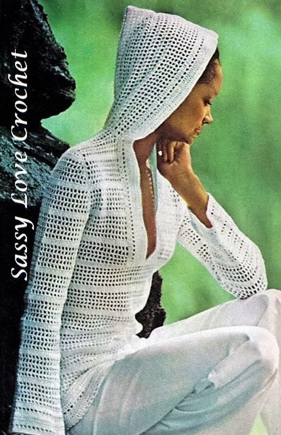 Filet Mesh With Open Air Stripe Bands Hooded Pullover Crochet Pattern Vintage 1975 Summer /& Beach Coverup Plunging Neckline and Hood