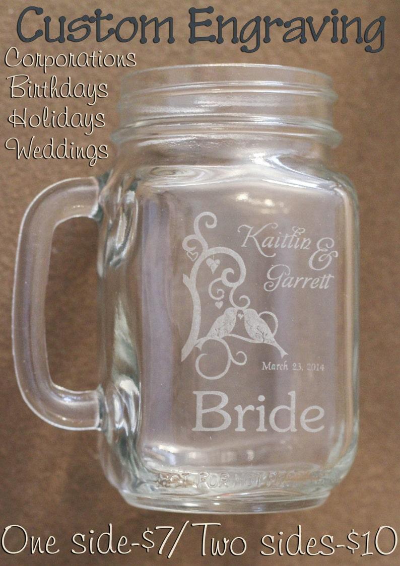 Custom Engraved Mason Jar Mug Wedding Birthday Hoilday image 0