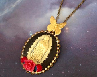 Necklace pendant Virgin Mary red flowers and gold Butterfly