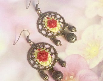 Dream catcher vintage Pink Rhinestone and Pearl Earrings