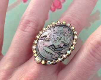 Ring any size adjustable cameo Pearl Victorian lady and rhinestones