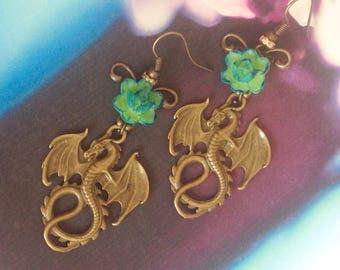 Dragons and green flowers earrings