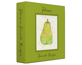 WATERCOLOR PEAR SKETCHBOOK Personalized Recipe Binder -  Recipe Organizer; Recipe Keeper; Wedding Gift; Bridal Shower Gift