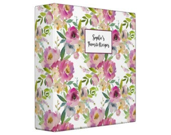 WATERCOLOR FLORAL PURPLES Personalized Recipe Binder -  Recipe Organizer; Recipe Keeper; Wedding Gift; Bridal Shower Gift