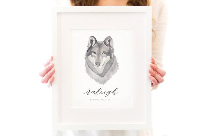 Raleigh Wolfpack Art Print  North Carolina image 0