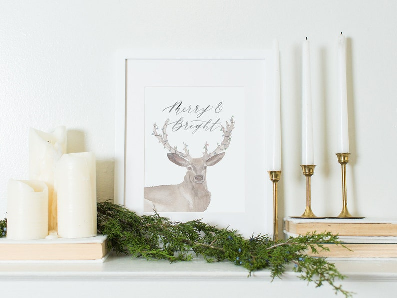 Holiday Art Print  Watercolor Deer  All is Calm All is image 0