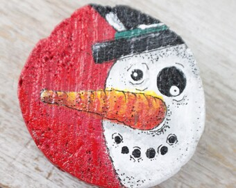 Jolly Snowman Magnet for Christmas, Timber Cut Wood, Acrylic Painting, Kitchen Decor