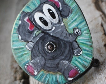 Trippy Elephant Hand-Painted on Timber Wood, Includes Stand