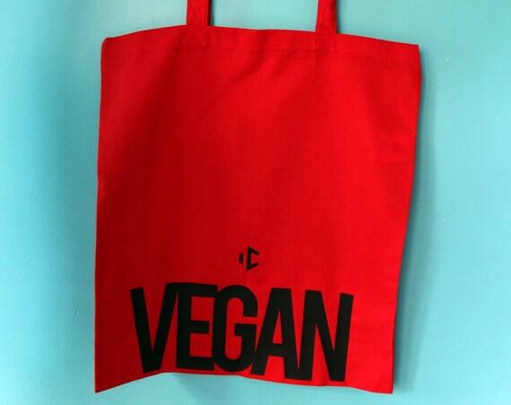 Vegan red tote bag