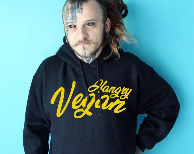 Hangry Vegan black Hoodie with yellow soft print