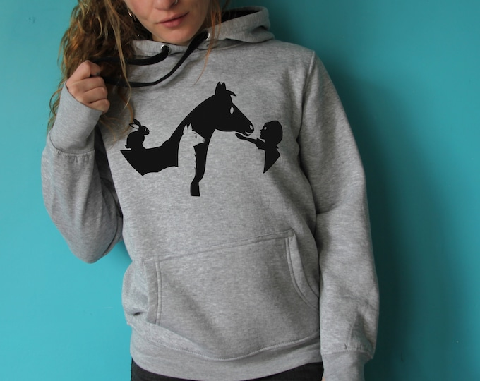The shelter the mouth laughing - Grey hoodie woman cut-