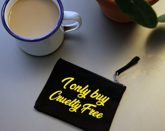 Cruelty Free mini wallet. Organic black cotton