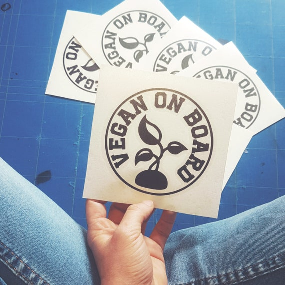 Vegan On Board - round car stickers