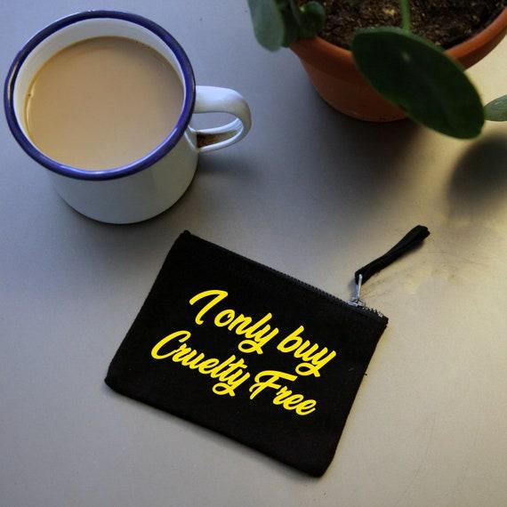 Cruelty Free mini wallet. Organic black cotton
