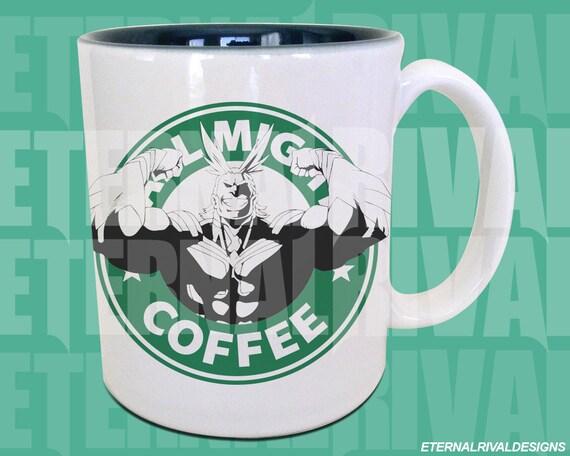 Toshinori Yagi All Might Starbucks Anime Manga Japanese Cartoon Art Inspired Geek Nerd Gamer Parody Mug
