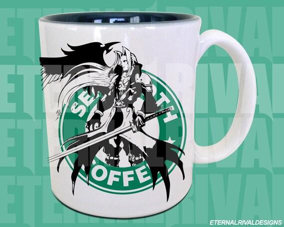 Final Rpg Boss Starbucks Anime Manga Inspired Art Gamer Geek Sephiroth Parody Mug
