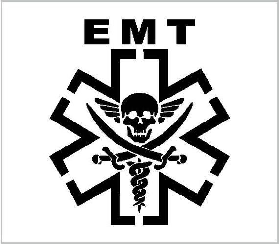 STAR OF LIFE EMT EMS VINYL DECAL STICKER PAIR