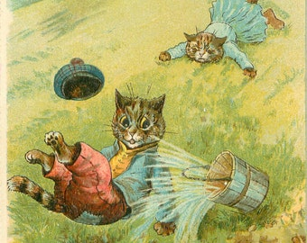 "Louis Wain Jack And Jill Cats Archival Fine Art Print, From 4"" x 6"" Through 16"" x 24"", Matte, Glossy, or Gallery Wrapped Print"