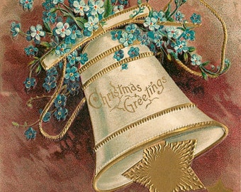 19th Century, Christmas Cards, 19th Century Christmas Cards, 19th Century Christmas, Christmas 19th Century, 19th Century Cards, Bell, Stars