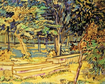 Vincent Van Gogh Print, Stone Steps in the Hospital Garden, van Gogh Watercolor, Saint Remy, Insane Asylum, Mental Hospital, Garden Artwork