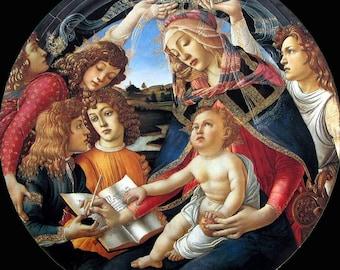 Sandro Botticelli, Madonna of the Magnificat, Virgin Mary, Italian Renaissance, Mary's Song, Queen of Heaven, Fine Art Print, Uffizi Gallery