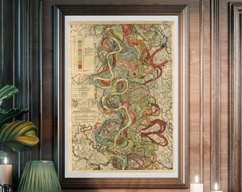 Mississippi River, Art Print, Mississippi Valley, Harold Fisk Maps, Alluvial River, River Valley, Mississippi Alluvial Valley, Valley River
