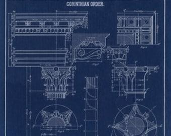 Blueprint Wall Art, Corinthian Column Drawing, Blueprint Wall Decor, Drawing, Blueprint, Fine Art Print, Architecture, Blueprint Prints