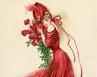 Red Dress, Victorian Dress, Red Victorian Dress, Victorian Red Dress, Dress Illustration, Red Victorian, Red Dress Illustration, Fashion Art