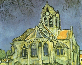 Vincent van Gogh Print, The Church at Auvers, Gothic Church Art, Cobalt Blue, Acid Green, Dutch Artist, Auvers, France, Post Impression Art