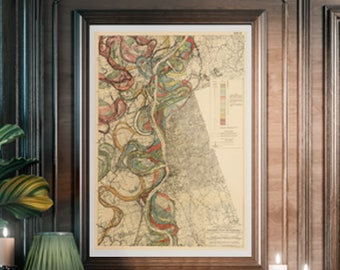 Mississippi River, Harold Fisk Map, River Meander, Mississippi River Meander Belt, Mississippi Meander Belt, Meander Belt, Page 22, Sheet 12