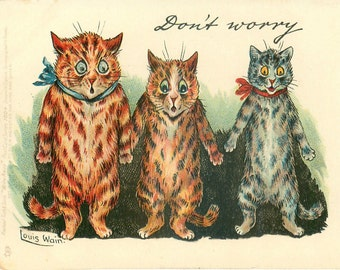 Louis Wain, Funny Cats, Louis Wain Cats, Wain Cats, Louis Funny, Funny Louis, Cats Louis Wain, Wain Louis, Louis Cats, Cat Decor, Cat Art