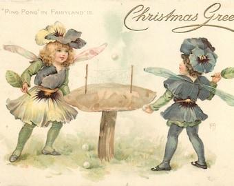 Ping Pong, Fairies Playing Ping Pong, Christmas Card, Pong Ping, Fairies Art, Fairyland Art, Raphael Tuck, Tuck Card, Tuck, Tuck Fairy Art