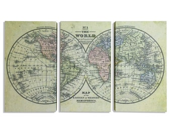 World Map, Hemispheres Map, Map World, World Hemispheres, World Map Hemispheres, World Map Triptych, World Hemispheres Map, Triptych Map