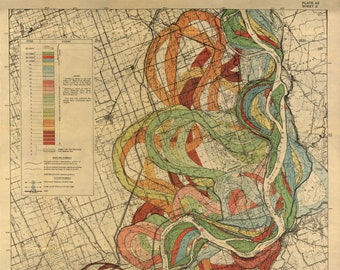 Harold Fisk Map, Mississippi River, P22 Sheet 2, Mississippi River Meander Belt, Mississippi Meander Belt, Meander Belt, River Mississippi
