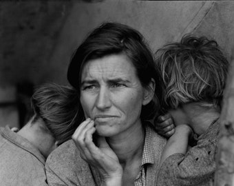 Dorothea Lange 1936 Migrant Mother Photo Reproduction Fine Art Print, Fine Art Paper, Canvas, Gallery Wrapped Prints