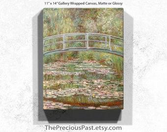 Monet Bridge, 11x14 Gallery Wrapped, Canvas Print, Monet Water Lilies Bridge, Water Lilies Monet, Monet Lilies, Water Bridge, Bridge Water