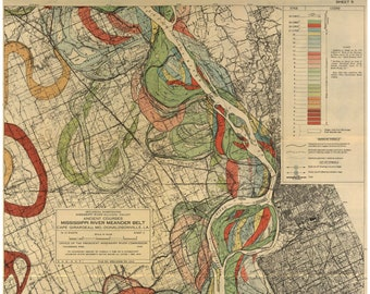 1944 Harold Fisk US Geological Survey Mississippi River Meander Map Of The Area Surrounding Memphis Tennessee