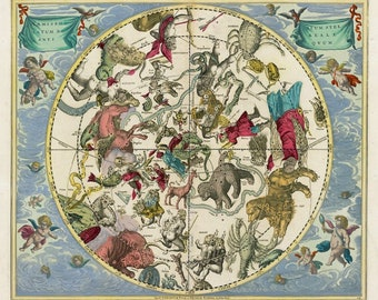 Northern Hemisphere, Star Map, Northern Hemisphere Map, Hemisphere Map, Andreas Cellarius, Harmonia Macrocosmica, Constellation Chart