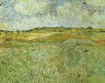 The Plain Near Auvers, van Gogh Print, Vincent van Gogh Artwork, Dutch Artists, Saint Remy Asylum, Landscape Painting, Post Impression Art