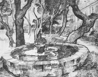 van Gogh Print, The Fountain in the Garden of the Hospital, Vincent van Gogh Art, Dutch Artists, van Gogh Drawings, Black and white Drawing
