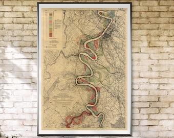 Baton Rouge, Mississippi River, Meander Belt, Harold Fisk Map, Page22, Sheet 15, River Meander, Mississippi Meander Belt, Baton Rouge River