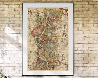 Mississippi River, Art Print, Arkansas River, Arkansas Mississippi, River Meander, Mississippi River Meander Belt, Fisk Map, Page 22 Sheet 8