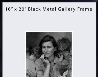 """16x20 Gallery Frame, Simple Black Metal Frame, Includes Mat, Mat For 8x10 Photo, Includes UV Glass, 5/16"""" Face Width, Black Aluminum Frame"""