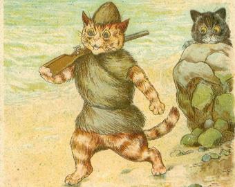 Robinson Crusoe, Cat Robinson, Crusoe Robinson, Art Robinson, Robinson Crusoe Art, Robinson Art, Cat Art, Louis Wain, Louis Wain Cat Art