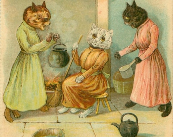 Louis Wain, Louis Wain Cats, Louis Wain Art, Wain Cats, Cats Louis Wain, Wain Louis, Louis Cats, Cinderella, Sisters, Cat Decor, Cat Art
