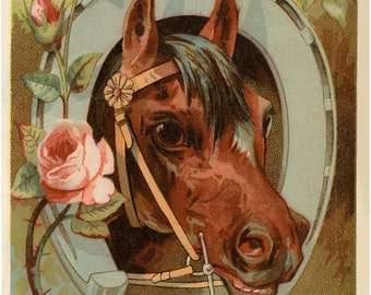 Horseshoe Art, Horseshoe Decor, Kentucky Derby, Horseshoe Print, Victorian Horse Print, Horse Art, Horse Decor, Horse Gift Ideas, Equestrian