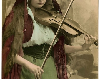 Gypsy Violin Print, Mignon Gypsy Girl, Bohemian, Violin, Boho Chic, Bohemian Decor, Dorm Decor, Gypsy Soul, Gypsy Decor, Bohemian Gypsy, Art